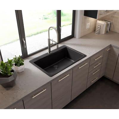 Drop-in/Undermount Granite Composite 33 in. Single Bowl Kitchen Sink in Black