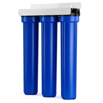 3-Stage Whole House Water Filtration System w/ 20 in. x 2.5 in. Oversized Fine Sediment and Carbon Block Filters