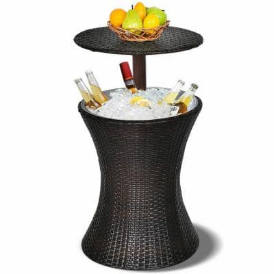 30.25 Qt. Adjustable Outdoor Patio Rattan Ice Cooler Chest Cooler Cool Bar Table Party Deck Pool