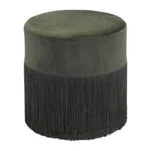 Julia 14 in. Forest Green Wood Ottoman without Storage