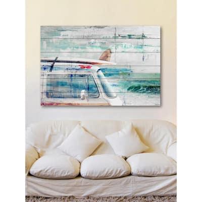 "24 in. H x 36 in. W ""Beach Trip"" by Parvez Taj Printed White Wood Wall Art"