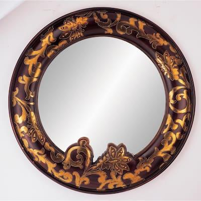 Medium Oval Mahogany Asian Mirror (24.5 in. H x 24.5 in. W)