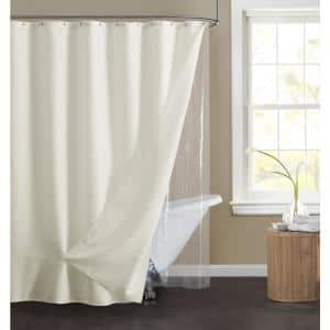 14-Piece Waffle 70 in. x 72 in. Shower Curtain Set in Ivory