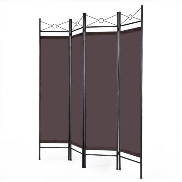 Costway 71 In Brown 4 Panel Room Divider Privacy Screen With Metal Frame Hw52018bn The Home Depot
