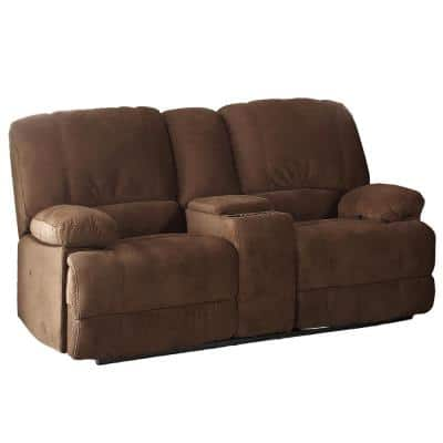 Kevin 73 in. Brown Polyester 2-Seater Reclining Loveseat with Square Arms