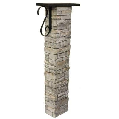 Gray Stacked Stone Mailbox Post Kit with Decorative Scroll