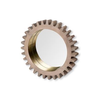 Medium Round Brown/ Brass Casual Mirror (26.0 in. H x 26.0 in. W)