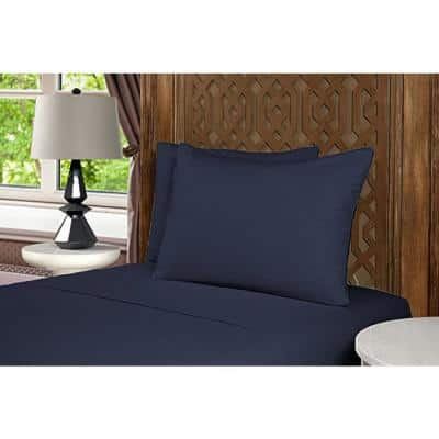 Mhf Home 4-Piece Navy Solid Full Sheet Set