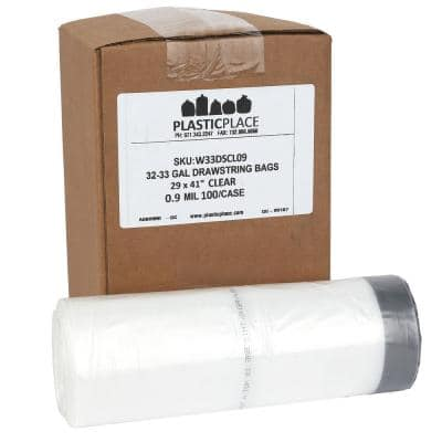32-33 Gal. Clear Drawstring Trash Bags (Case of 100)