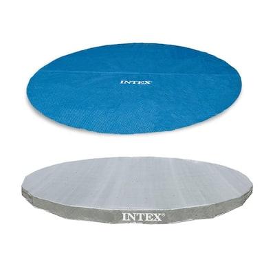 18 ft. Round Vinyl Solar Cover Plus 18 ft. UV Resistant Pool Debris Cover
