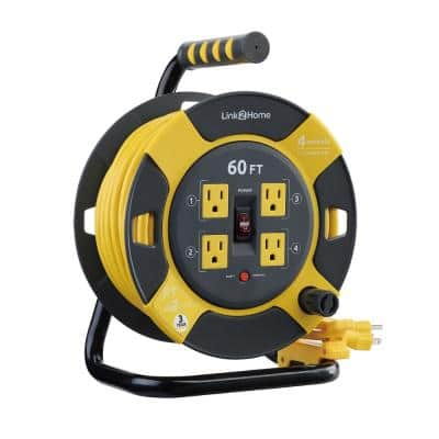 60 ft. 14/3 Extension Cord Storage Reel with 4 Grounded Outlets and Overload Circuit Breaker
