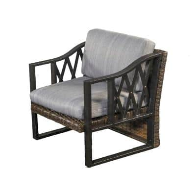 1-Piece Brown Wicker Outdoor Sectional Chair with Gray Cushion