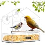 Acrylic Clear Window Bird Feeder with Suction Cups and Seed Tray