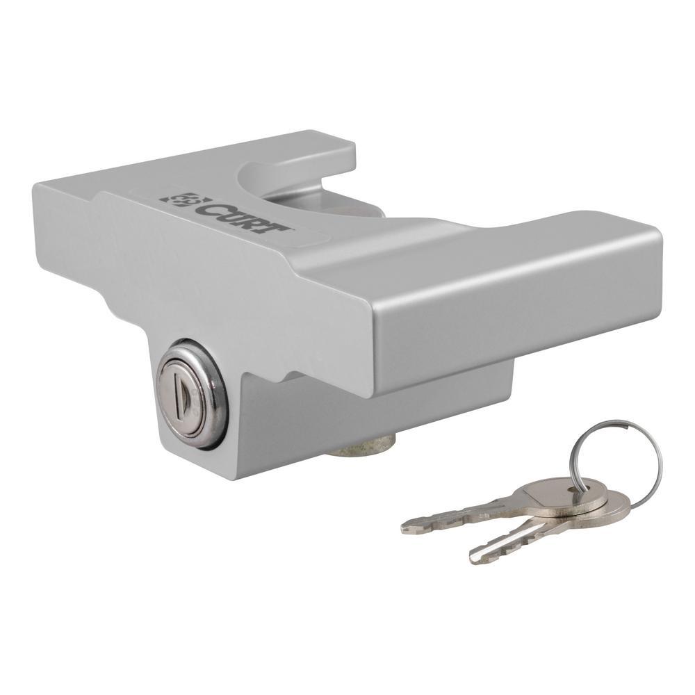 "Trailer Coupler Lock for 2"" or 2-5/16"" Flat Lip Couplers (Grey Aluminum)"