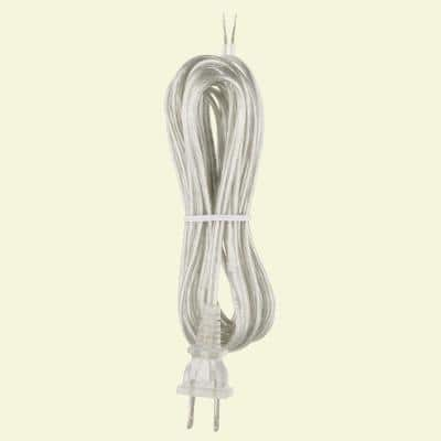 8 ft. Silver Lamp Cord and Molded Plug Set with Stripped Ends Ready for Wiring