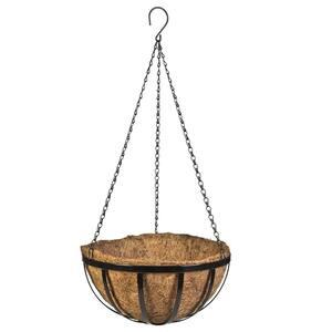 14 in. Metal English Hanging Coco Basket