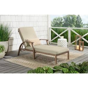Geneva Brown Wicker Outdoor Patio Chaise Lounge with CushionGuard Putty Tan Cushions