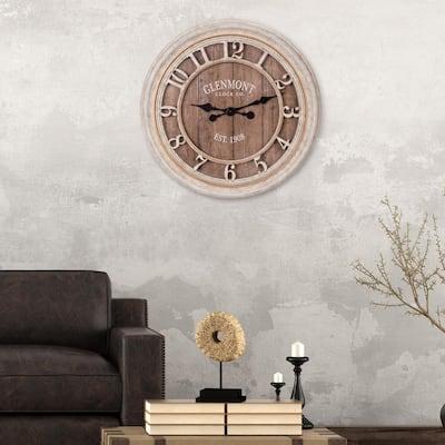 28 in. Distressed Cream Wood Plank Glenmont Wall Clock