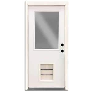 Premium Half Lite Primed White Steel Back Door 30 in. Left Hand Inswing with Extra Large Pet Door