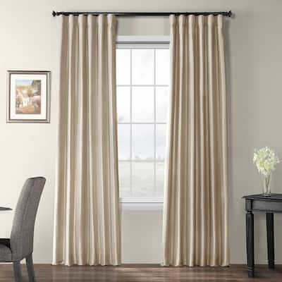 Antique Beige Faux Silk Rod Pocket Blackout Curtain - 50 in. W x 96 in. L