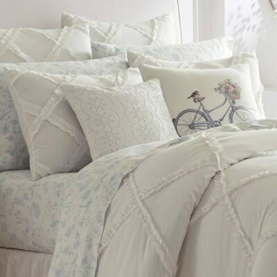 Adelina White Solid Cotton Comforter Set