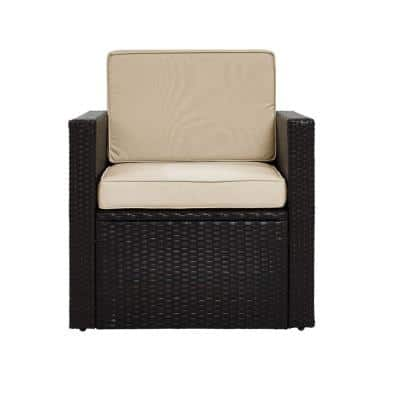 Palm Harbor Wicker Outdoor Patio Lounge Chair with Sand Cushions