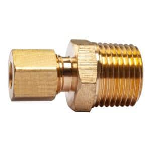 1/4 in. O.D. Comp x 3/8 in. MIP Brass Compression Adapter Fitting (5-Pack)