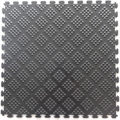 Multi-Purpose 18.3 in. x 18.3 in. Metallic Pewter PVC Garage Flooring Tile with Raised Diamond Pattern (6-Pieces)