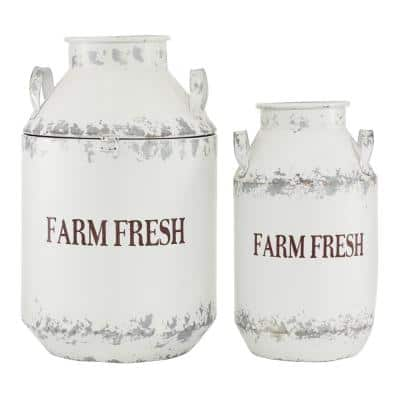 White Iron Milk Cans with Handles (Set of 2)