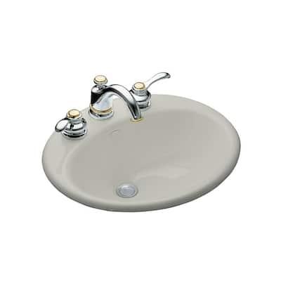 Farmington Drop-In Cast Iron Bathroom Sink in Ice Grey with Overflow Drain