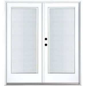 72 in. x 80 in. Fiberglass Smooth White Right-Hand Inswing Hinged Patio Door with Built in Blinds