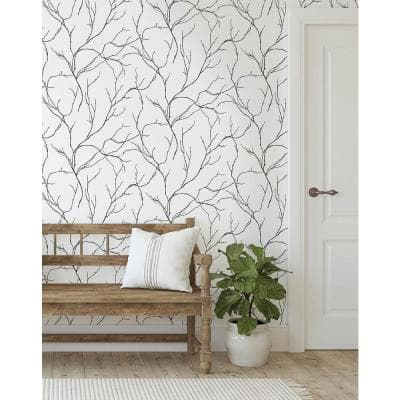 Delicate Branches Vinyl Peel & Stick Wallpaper Roll (Covers 30.75 Sq. Ft.)