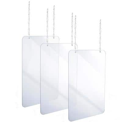 24 in. x 36 in. x 0.18 in. Clear Acrylic Sheet Hanging Protective Sneeze Guard (3-Pack)
