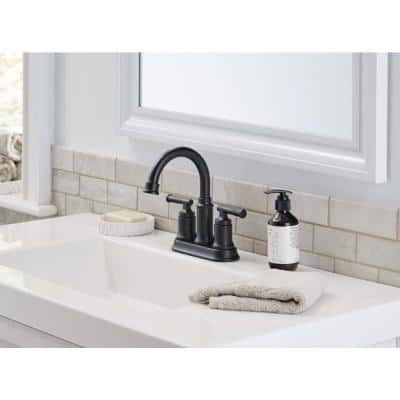 Oswell 4 in. Centerset 2-Handle High-Arc Bathroom Faucet in Matte Black
