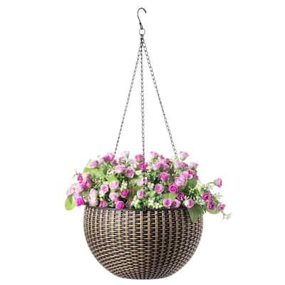 10 in. Self Watering Bronze Plastic Hanging Basket Flower Planter