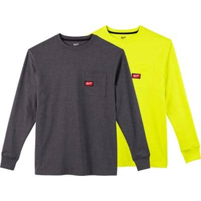 Men's 2X-Large Gray and High Visibility Heavy-Duty Cotton/Polyester Long-Sleeve Pocket T-Shirt (2-Pack)