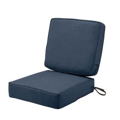 Montlake FadeSafe 25 in. W x 22 in. H Heather Indigo Blue Outdoor Lounge Chair Cushion with Back Cushion