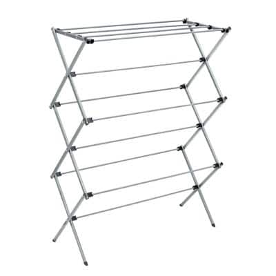 29 in. W x 42 in. H Silver Steel Oversized Collapsible Drying Rack