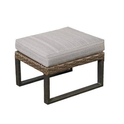 1-Piece Brown Wicker Outdoor Sectional Ottoman with Gray Cushions