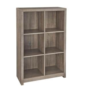 39 in. H x 26 in. W x 12 in. D Weather Teak Wood Look 6-Cube Storage Organizer