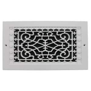 Victorian Wall Mount 12 in. x 6 in. Opening, 8 in. x 14 in. Overall Size, Polymer Decorative Return Air Grille, White