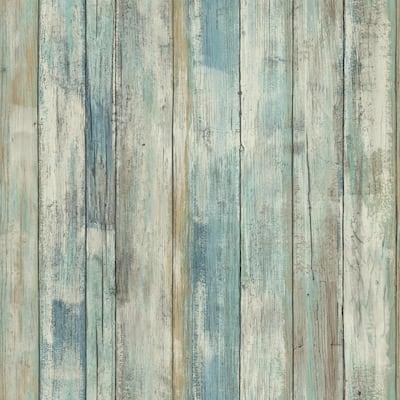 Blue Distressed Wood Vinyl Peel & Stick Wallpaper Roll (Covers 28.18 Sq. Ft.)