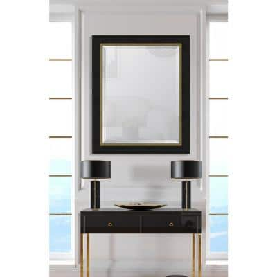 Medium Rectangle Black Beveled Glass Contemporary Mirror (34 in. H x 28 in. W)