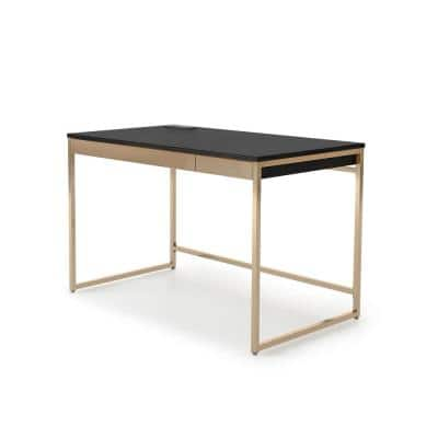 Hatley 48 in. W Rectangular Black and Copper Writing Desk With 2-Drawers