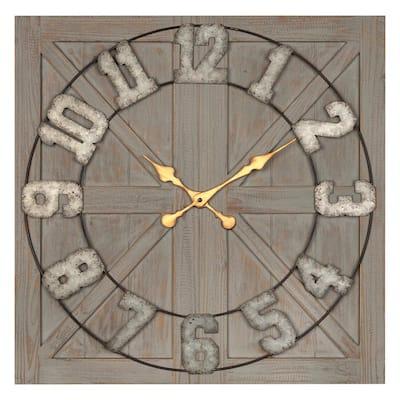 Aaron Distressed Wood and Metal Wall Clock