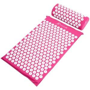 Pink 25 in. x 15.75 in. Acupressure Mat and Pillow Set for Back/Neck Pain Relief and Muscle Relaxation (2.73 sq. ft.)