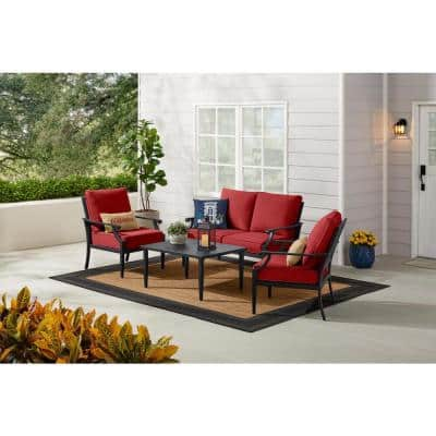 Braxton Park 4-Piece Black Steel Outdoor Patio Conversation Deep Seating Set with CushionGuard Chili Red Cushions