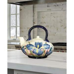 Iris 5.5 in. Multi-Colored Tea Pot-Saucer with Hand Painted Porcelain Style