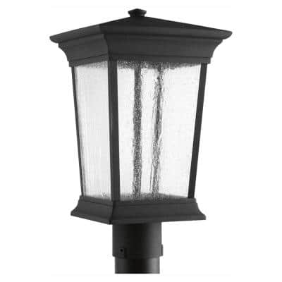 Arrive LED Collection Textured Black Clear Seeded Glass Modern Outdoor Post Lantern Light