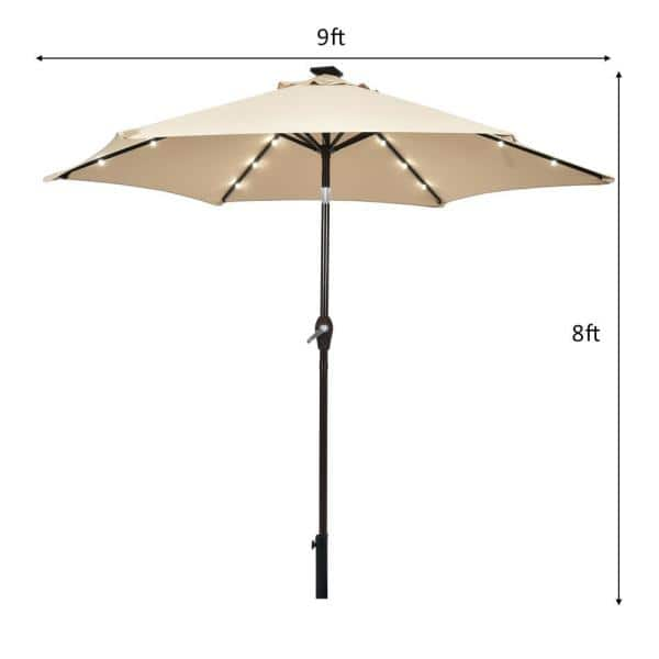 9 Ft Table Market Yard Outdoor Patio, Outdoor Patio Umbrella With Solar Led Lights